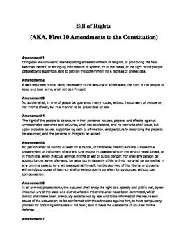 "This document list the Bill of Rights, including an ""In Short"" which is easier for kids to understand.  The second set is larger for students with visual challenges.  Enjoy!"