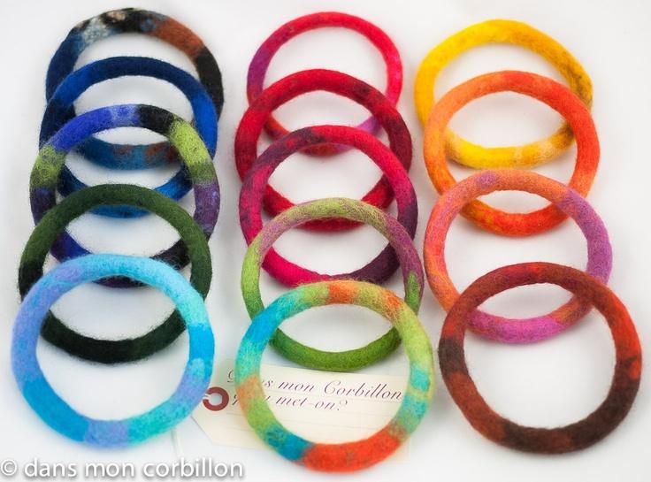 """by """"dans mon corbillon"""" : felt bangles - buy 5, the 6th is offered !  1 Bracelet bangle cordon feutre / 6eme OFFERT!"""