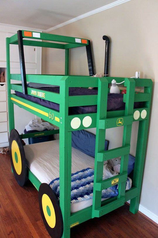 tractor bunk bed this is so cool!  @michelle, mathyas needs this! Maybe even Brianna ;): Ideas, Tractors, Bunk Beds, John Deere, Kids Room, Tractor Bunk, Boys Room, Boy Room, Bedroom