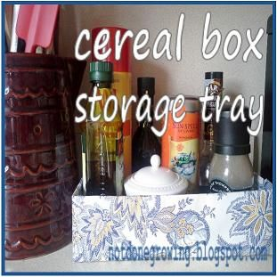 Great up-cycled idea - cereal box storage tray.  This would be wonderful storage for board books and other kids items.