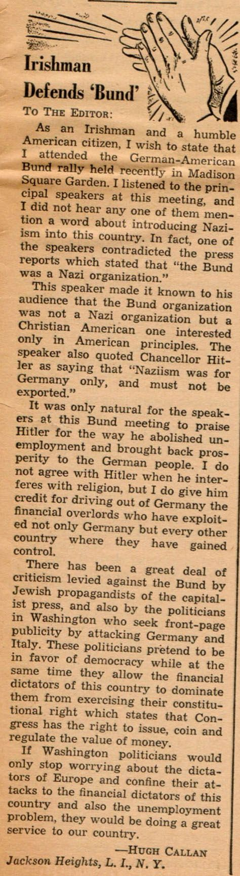 "Irishman Defends ""Bund""' --An interesting letter from the newspaper 'Social Justice' (April 3, 1939), done by Father Charles Coughlin."