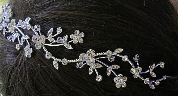 Wedding Headband, wedding Hair Accessory,  Bridal Hair vine, Flower hair band, Silver Hairpiece, Crystal Head Piece, Bridal head band