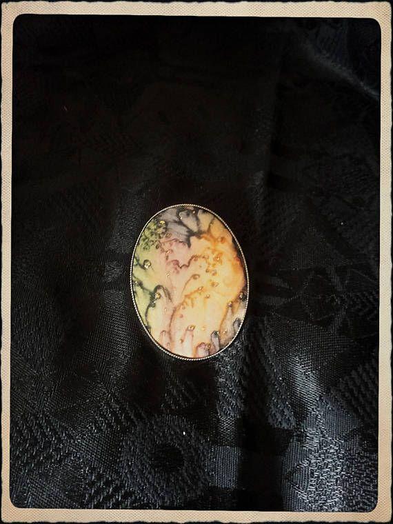 Vintage big handpainted silk brooch pin