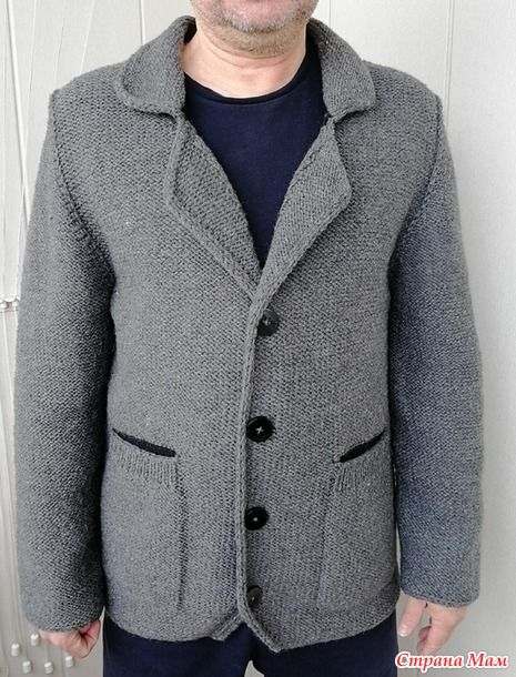 классический мужской пиджак спицами Knitted Mens Jacket мужской