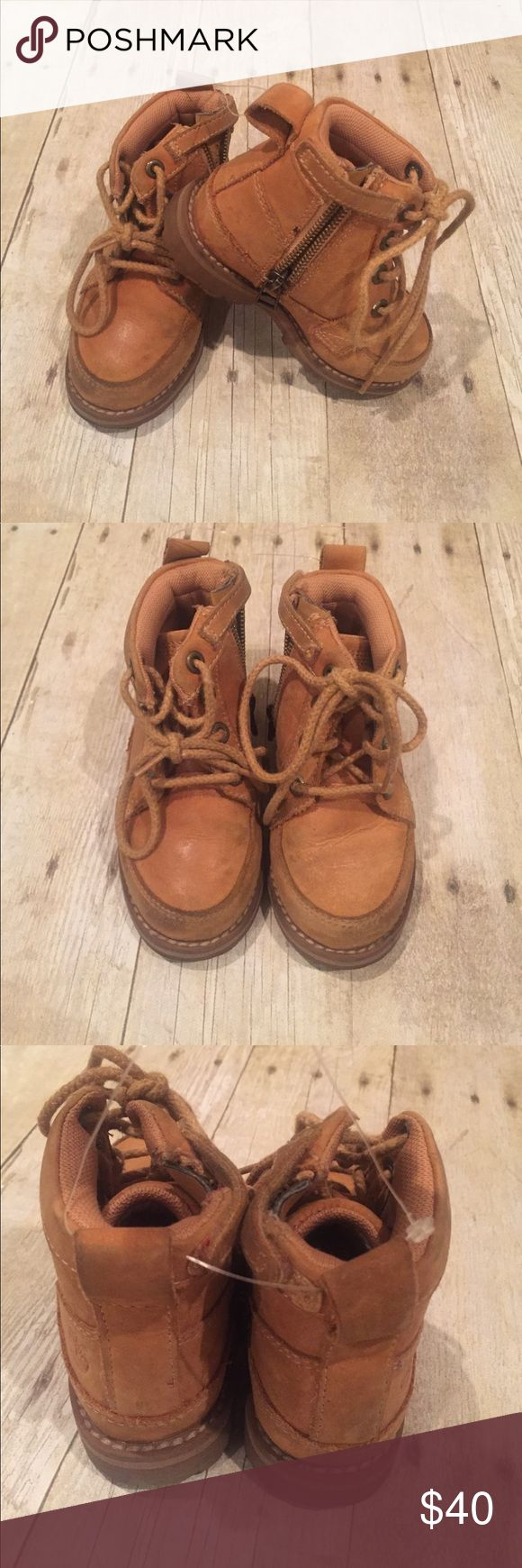 Timberlands for kids size 7 boys side zip/laces Timberlands boys size 7 toddler side zip and front Lace.  Great condition. Shoes Boots