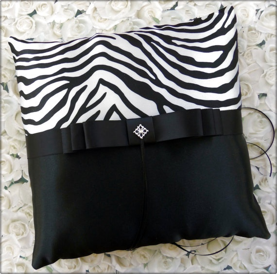 Zebra Wedding Ring Bearer Pillow