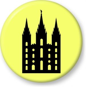Salt lake temple large silhouette vector image - Button Badge - Brooch - Gift