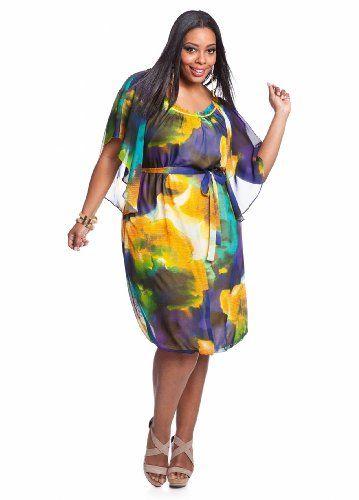 Ashley Stewart Women's Plus Size Tropical Ruffle Front Empire ...