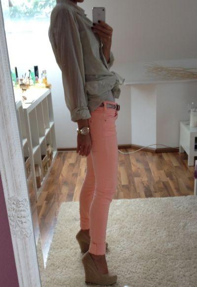 love: Outfit, Melon Jeans, Pants Tops Wedges, Peaches Pants, Nude Wedges, Pink Pants Tops, Pink Jeans, Peaches Jeans, Pants Legs
