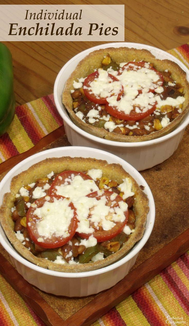 We love traditional enchiladas and our skillet enchiladas bring all the traditional flavor into a quick, one-an meal. But, sometimes it's fun to mix things up a bit, like our Turkey Enchilada Pasta Bake or this easy Enchilada Pie. | www.CuriousCuisiniere.com