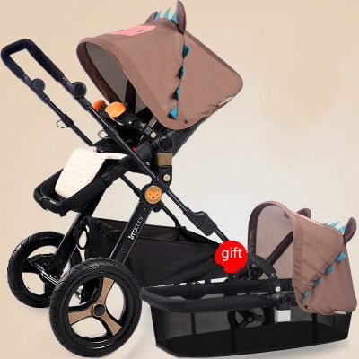 High landscape stroller two-way four-wheel shock can sit lie baby light folding carts