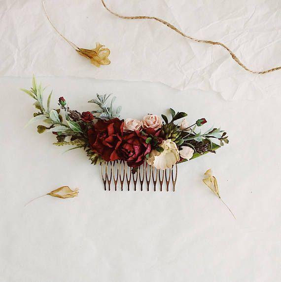 Burgundy red hair flowers wedding