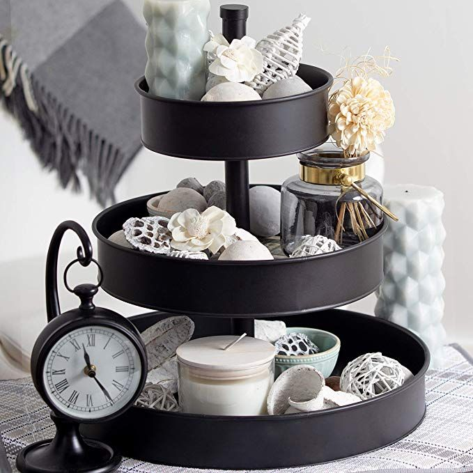 Amazon Com Bisonhome 3 Tiered Serving Tray Large Rustic Decorative Black Galvanized Metal Cheap Kitchen Decor Tiered Serving Trays Farmhouse Serving Trays