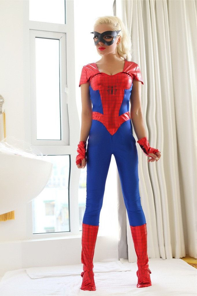 Sexy blue with red Women's spider Costume sale ,Game cosplay Sexy Halloween Costumes for woman HXQ 9020
