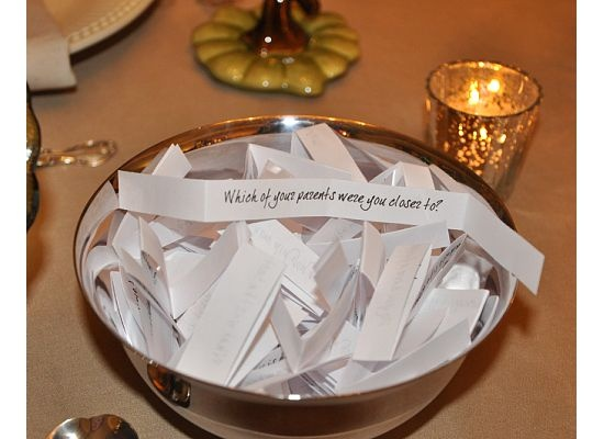 Center piece questions to form small talk with party guests.