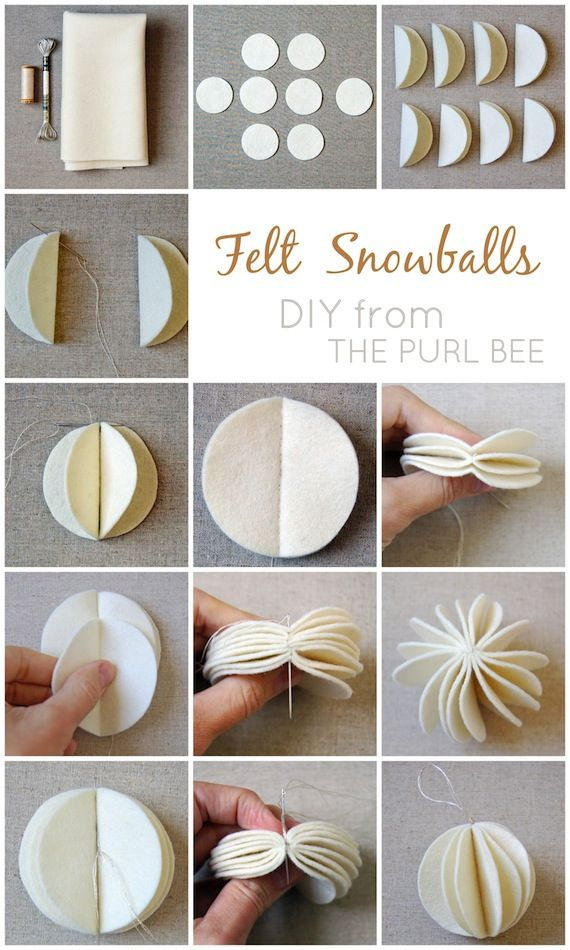 diy felt snowball ornaments