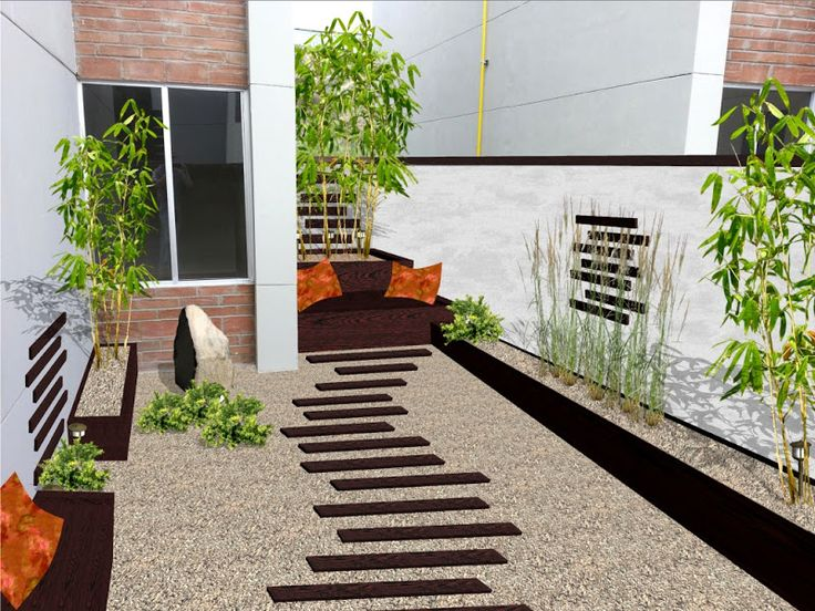 diseño de jardin minimalista para patio con madera piedras y bambu