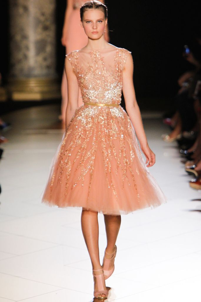 Elie Saab F 2012: I love this ballerina inspired dress! Then again the peach color in the other two dresses I posted is present. Feminine & Flirty!