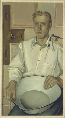 An Allison Watt portrait of a man with wash basin