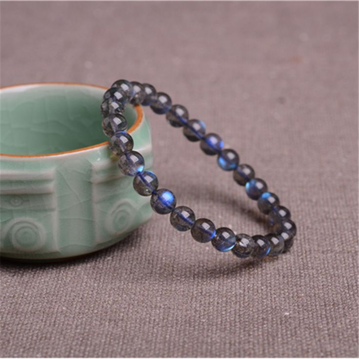 Wholesale 8mm Charm Stretch Bracelets For Women Ladies Blue Lights Round Crystal Beads Genuine Natural Labradorite Bracelet