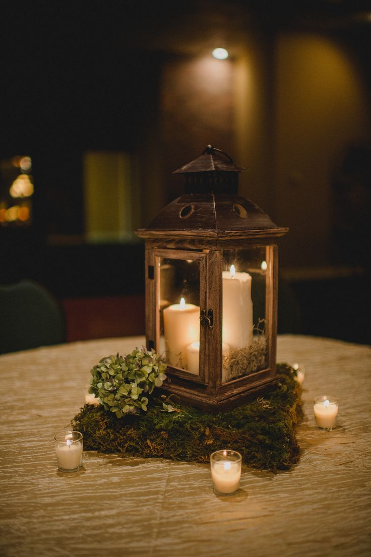 Wooden Lantern Centerpiece With Moss Stand