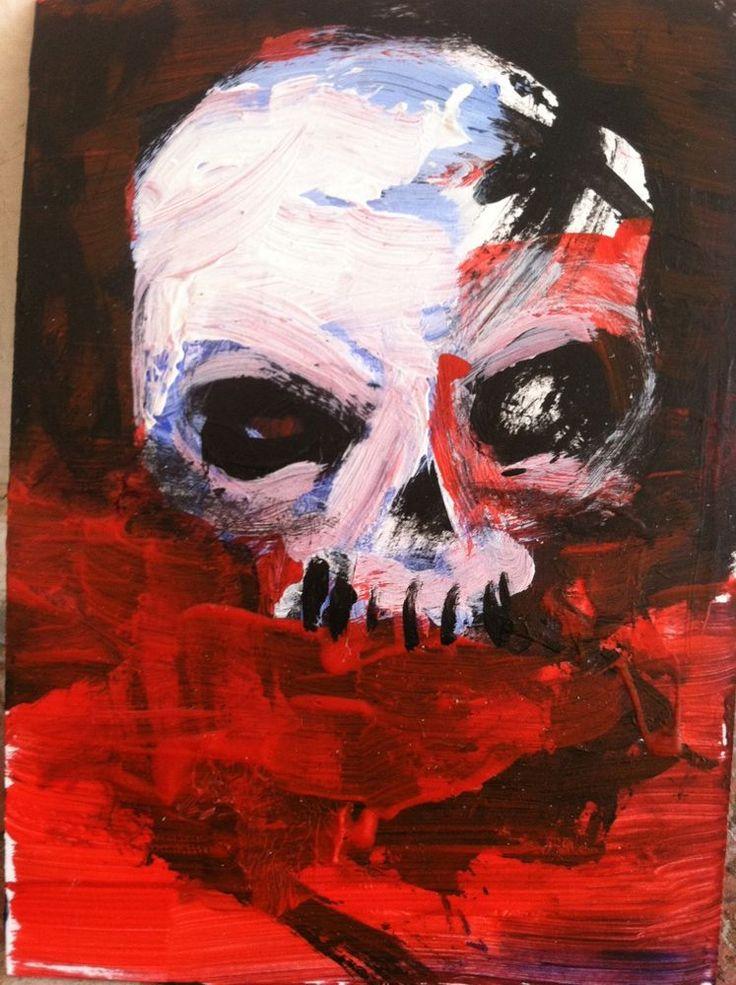 "abstract art, Skull,    Acrylic original  ,ACEO  jack larson 3.5""x2.5"" #Abstract"