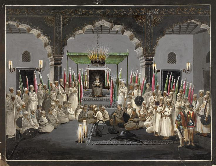 The Muharram Festival. Asaf al-Daula listening at night to the maulvi reading from the scriptures