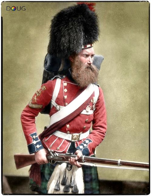 Colour-Sergeant William Gardner (aged 35), 42nd Royal Highland Regiment of Foot (Black Watch). After serving in the Crimean War, Gardner was awarded the Victoria Cross during the Indian Mutiny for saving the life of his commanding officer, Leftenant-Colonel Cameron. Knocked from his horse, Cameron was set upon by three mutineers. In the moments that followed, Gardner bayoneted two of them, while the third was killed by other members of the Regiment.