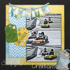 "Language of Love stamp set and Watercolour DSP from Stampin"" Up! - I thought the banners suited the 'racecar' theme"