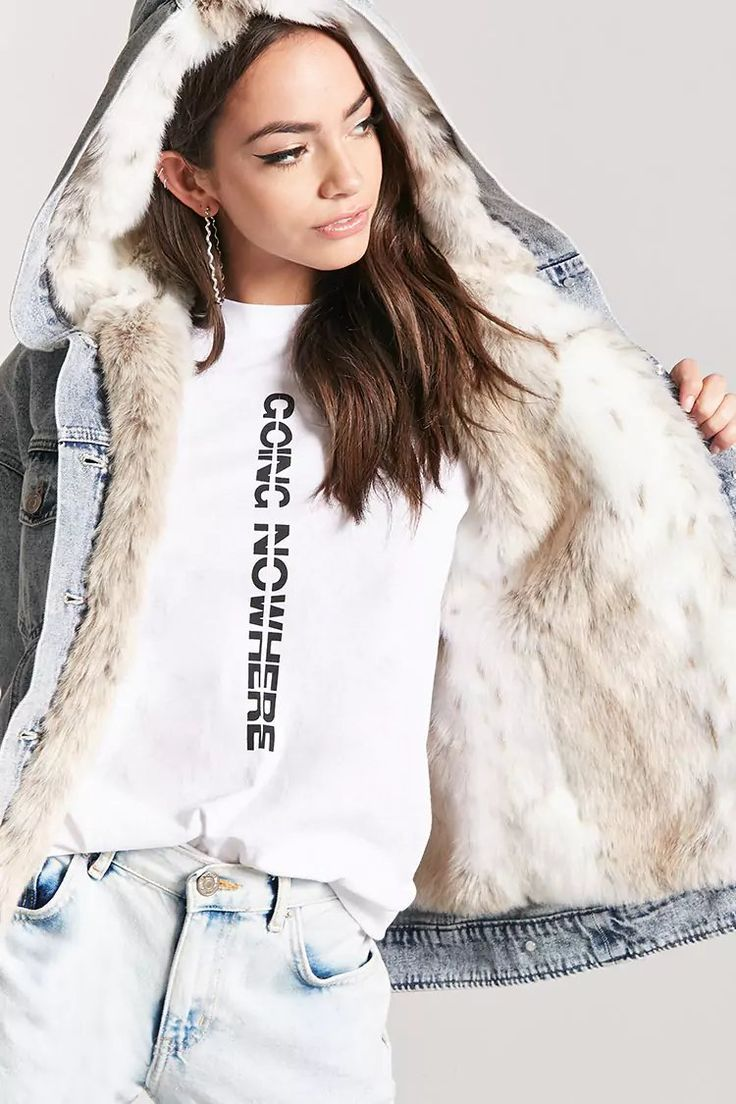 Product Name:Faux Fur Denim Jacket, Category:outerwear_jean-jackets, Price:64.9