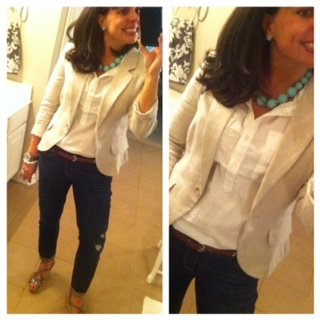 Pinterest Told Me To:  LOVE this casual yet polished look!  Crisp white shirt, distressed jeans, neutral blazer, and mint green accents.