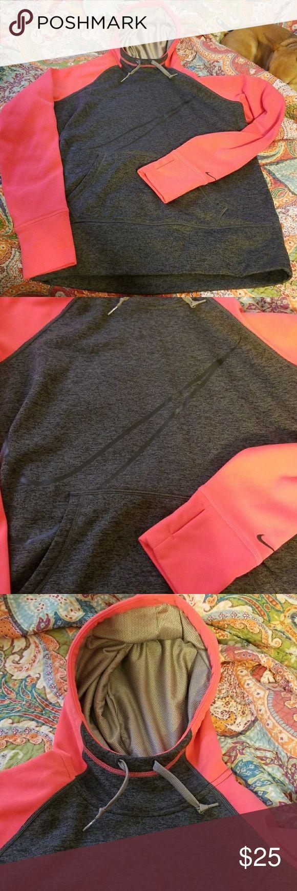 Pink & grey nike hoodie Super cute nike hoodie pink & grey size large Nike Tops Sweatshirts & Hoodies