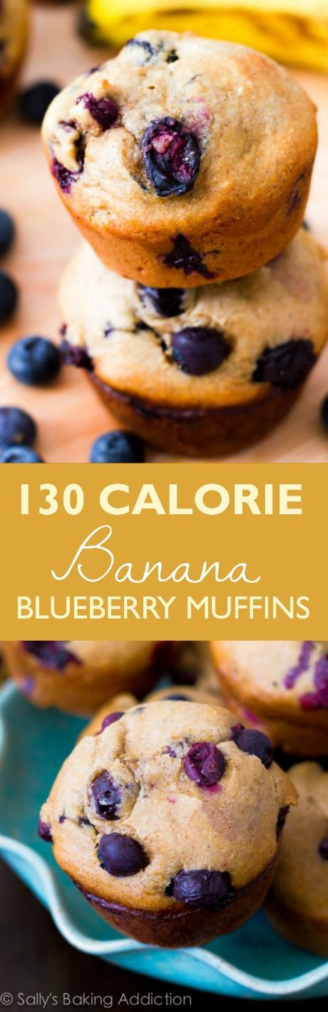 Nearly fat free, 131 calorie skinny banana blueberry muffins. You won't miss all the calories and fat, trust me!