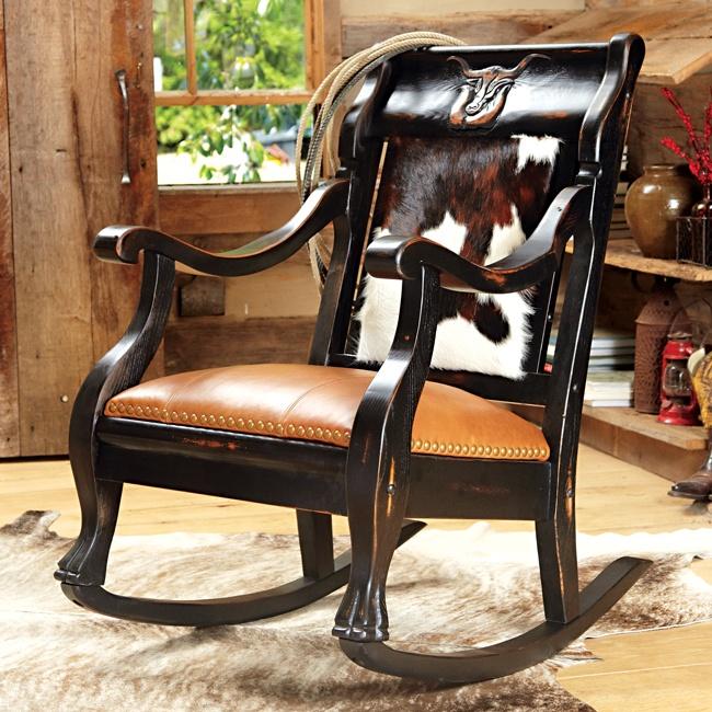 Cowhide Rocking Chair.