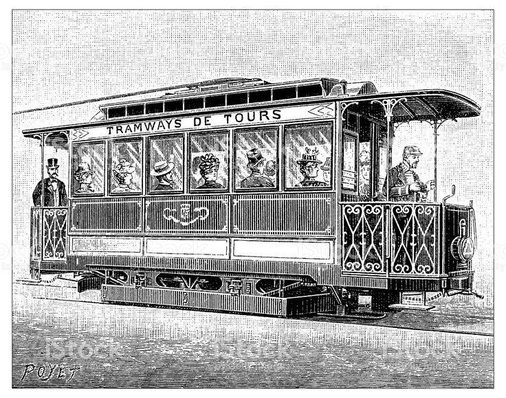 Antique illustration of tramways de Tours stockowa ilustracja wektorowa royalty-free