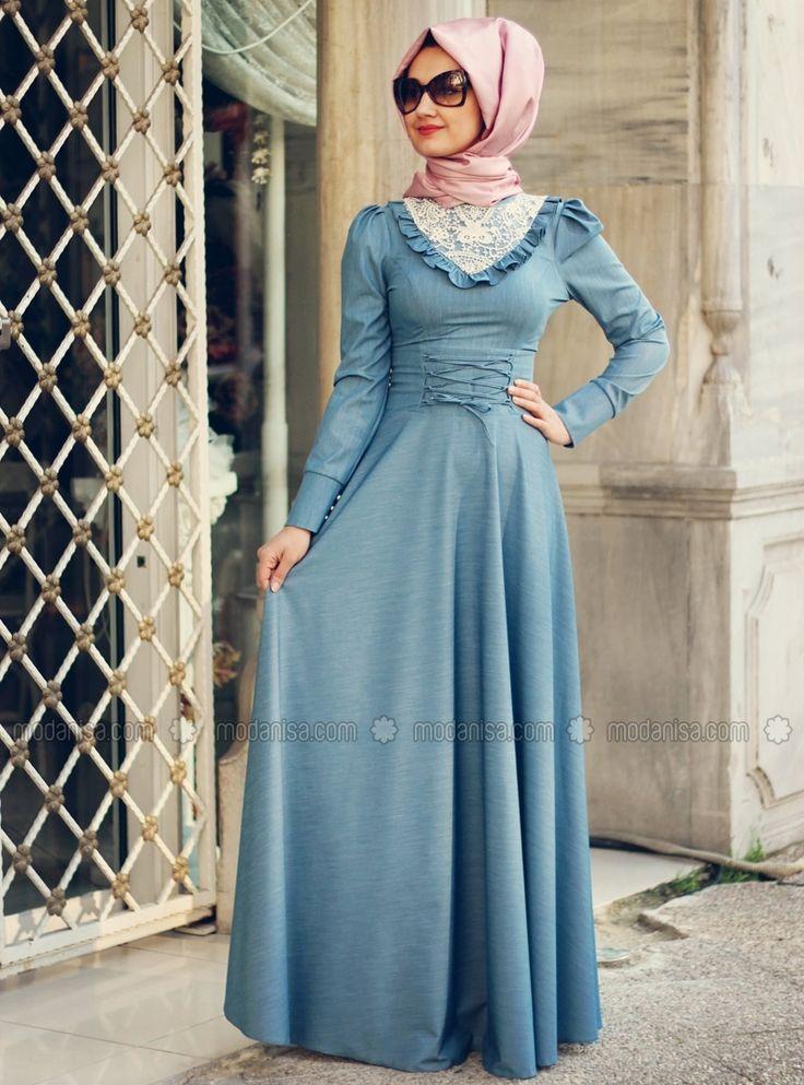 Bias Denim Dress - Blue - Minel Ask
