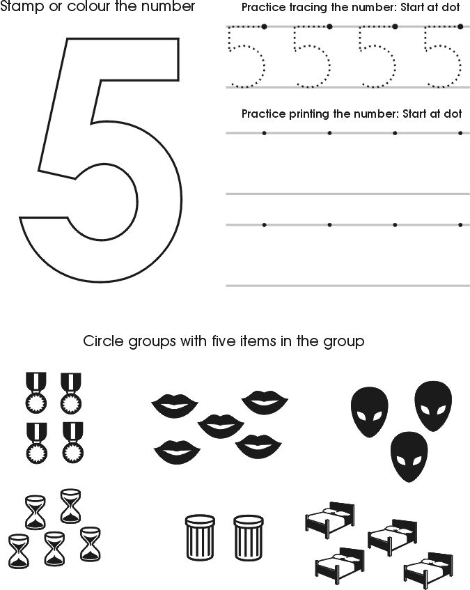Number Five Worksheet | Free Preschool Printable