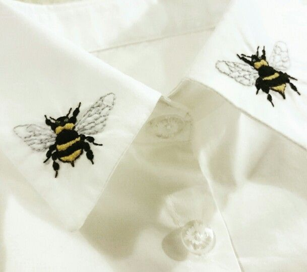 Hand embroidered detachable bee collar by Elvira the Goddess of Rock