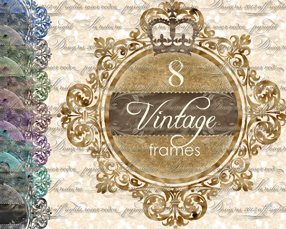 Crown Frames Instant Download Vintage Digital by SunshineDesigns88, $4.98