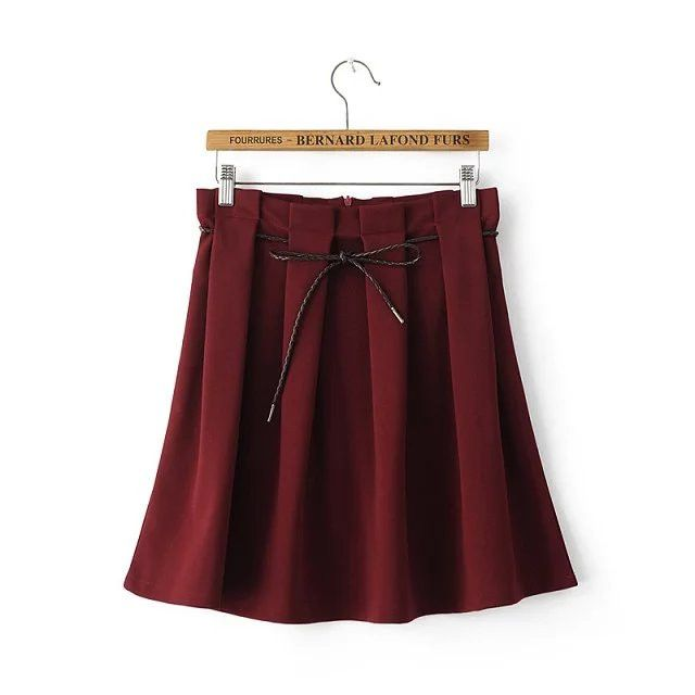Sexy Women's Stretch High Waist lacing Plain Skater Flared Pleated Casual Cotton Mini short Skirt Fashion