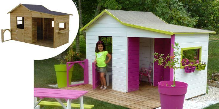 Maisonnette en bois - véranda - OOKid Gaby - cabane enfants - OOGarden.com