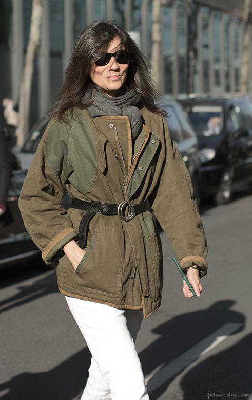 Emmanuelle Alt in Paris, belted jacket, white jeans, sunglasses