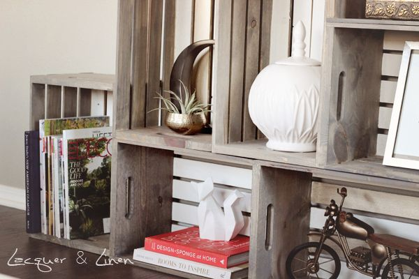 Crate Shelving Unit 3 copy DIY: Flea Market Style Bookcase