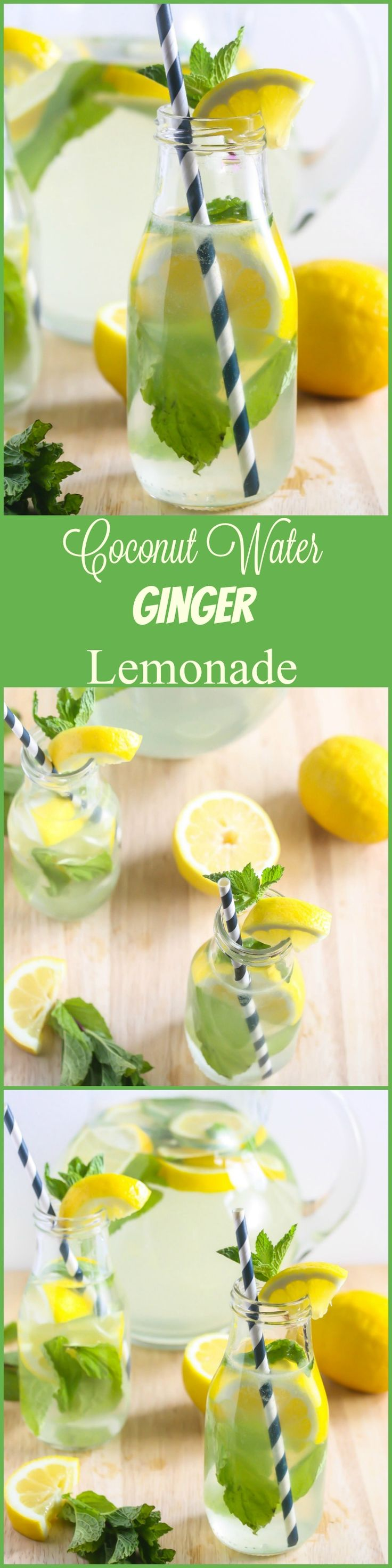 You can enjoy this refreshing Coconut Water Ginger Lemonade all year long! laurenkellynutrition.com