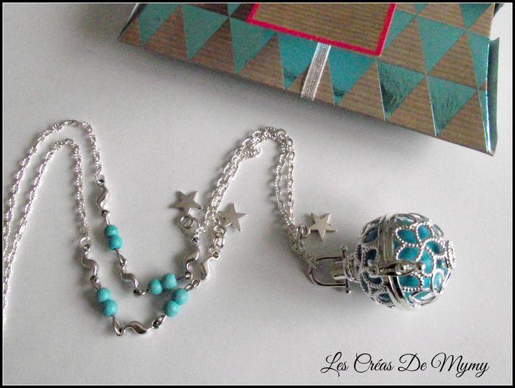 ★★★Bijoux de grossesse bola★★★ Cage Fleurs de lotus,breloque étoile,perle de gemmes turquoise,perle musical turquoise : Collier par mimibibi