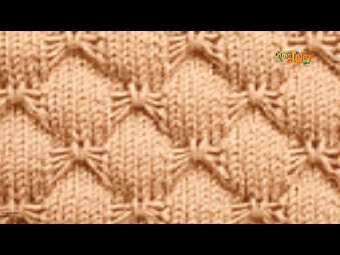Cómo tejer paso por paso Punto Hojas caladas grandes. Tutorial # 653 - YouTube