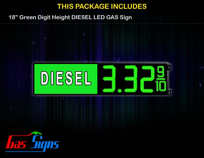 18 Inch DIESEL Gas Price LED Sign - Green LEDs with 3 Large Digits and fraction digits with housing dimension and format 8.88 9/10 comes with complete set of Control Box, Power Cable, Signal Cable & 2 RF Remote Controls (Free remote controls).