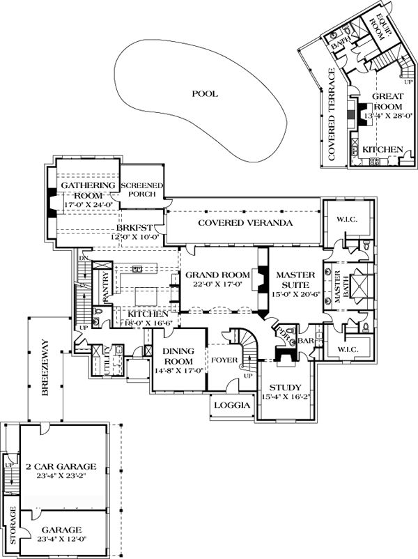 House plan 96912 european luxury house plans pinterest for House plans with breezeway to guest house