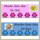 These boy/girl bathroom passes can be laminated and used as traditional passes.I printed them on full sheet sticker paper, adhered them to hand sanitizer bottles. Check it out on TpT $ http://www.teacherspayteachers.com/Product/Hand-Sanitize-Labels-Germ-Juice-Monsters-141600