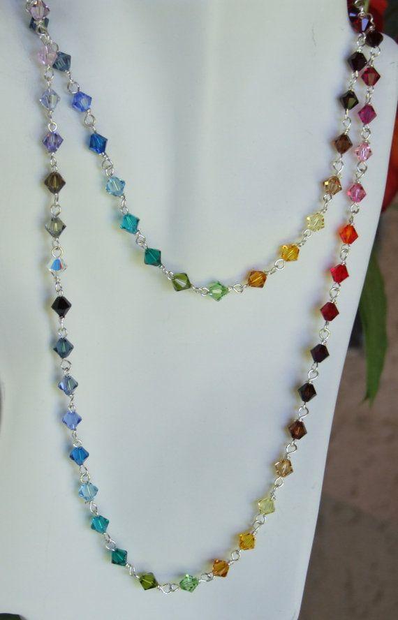 Swarovsky crystal 6mm  beads necklace 0211NK                                                                                                                                                      Mais